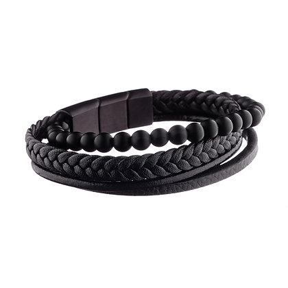 Bracelet Monceau - cuir et pierres naturelles