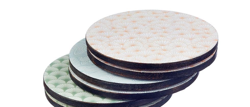 Sous-verre en bois de manguier - 6 pièces - Collection Pastel