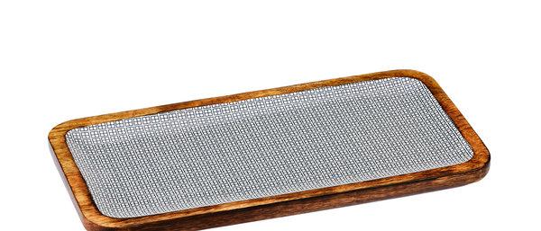 Plateau de service rectangulaire en bois de manguier 20x40cm - Square Dark
