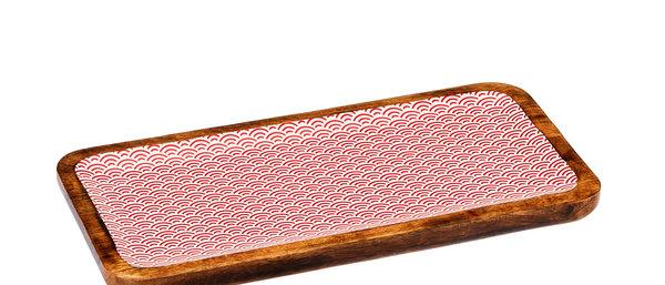Plateau de service rectangulaire en bois de manguier 20x40cm - Rainbow Color