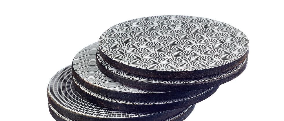 Sous-verre en bois de manguier - 6 pièces - Collection Eclipse
