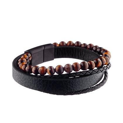 Bracelet Nation - cuir et pierres naturelles