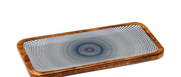 Plateau de service rectangulaire en bois de manguier 20x40cm - Sun Dark
