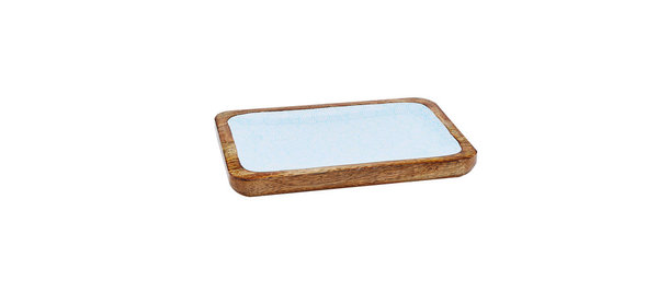Plateau de service rectangulaire en bois de manguier 17x25cm - Swirl Color
