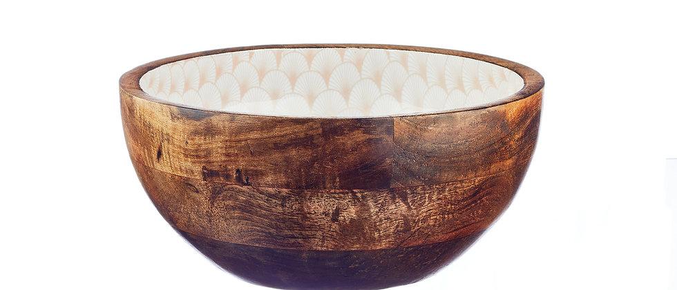 Saladier en bois de manguier Ø24cm - Fan Pastel