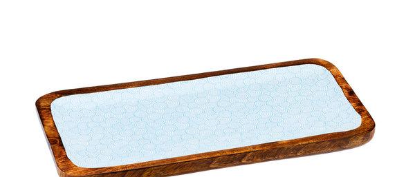 Plateau de service rectangulaire en bois de manguier 20x40cm - Swirl Color