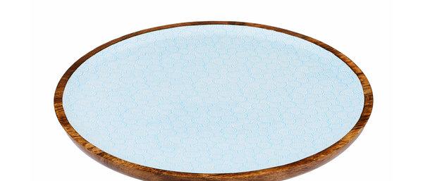 Plateau de service rond en bois de manguier Ø40cm - Swirl Color