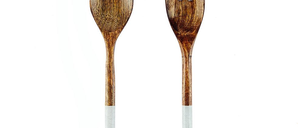 Couverts à salade en bois de manguier - Storm Pastel