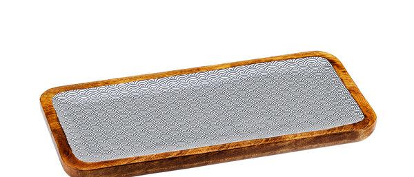 Plateau de service rectangulaire en bois de manguier 20x40cm - Wave Dark