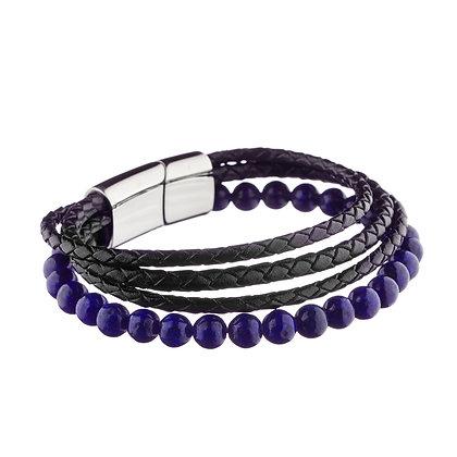 Bracelet Lilas - cuir et pierres naturelles