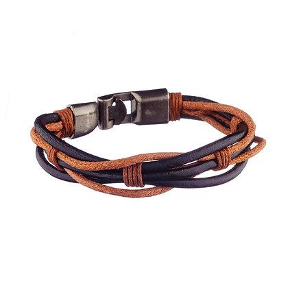 Bracelet Pyrénées noir et marron - cuir