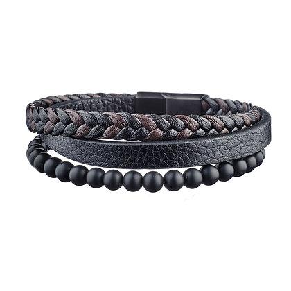 Bracelet Sorbonne - cuir et pierres naturelles