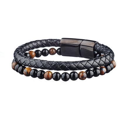Bracelet Rue du bac - cuir et pierres naturelles
