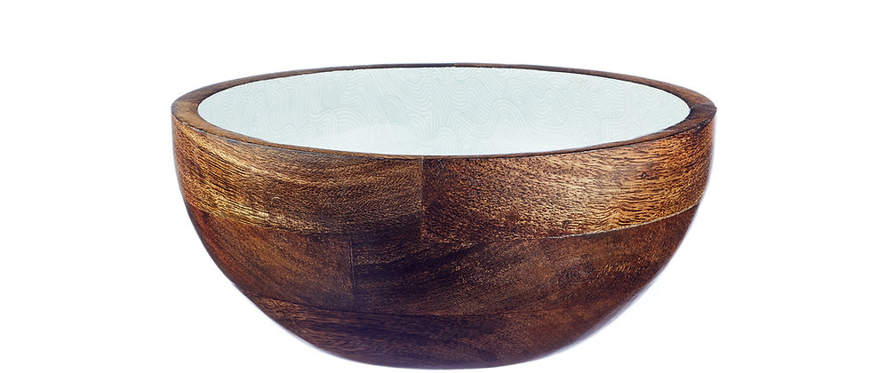 Saladier en bois de manguier Ø24cm - Storm Pastel