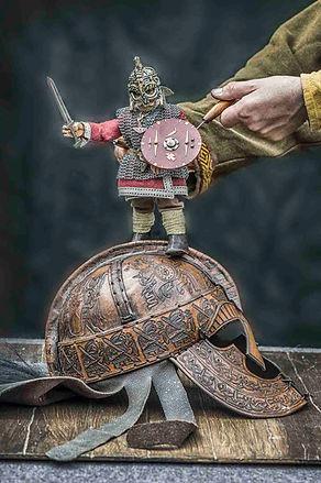 Beowulf puppet on helmet - Rattlebox Theatre
