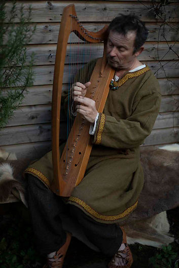 Paul Whittal playing harp - Rattlebox Theatre