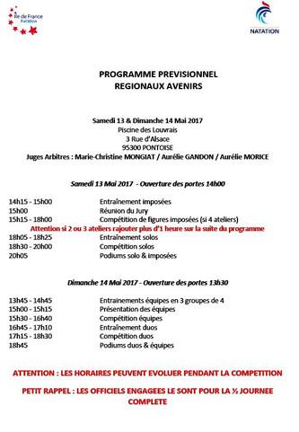 Annonce championnat régional Avenir