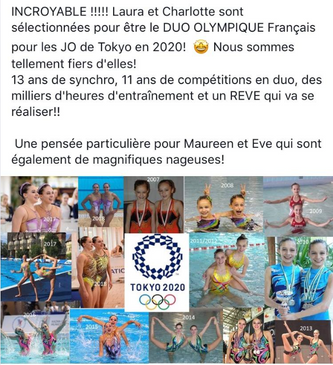 Laura et Charlotte représenteront la France en duo, au jeux Olympiques de Tokyo 2020.