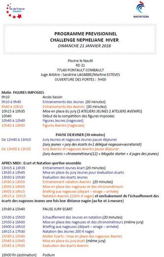 Programme Challenge Nephéliane Hiver