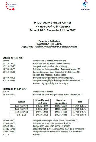 Programme et ordre de passage N3 Avenirs et Séniors