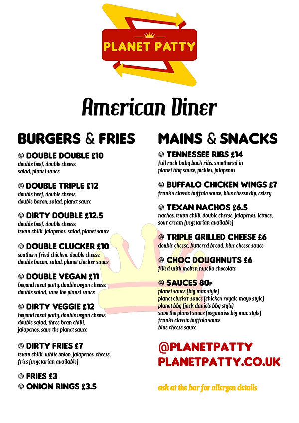 Planet Patty - American Diner Menu - Aug
