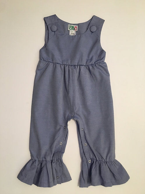 Girls Chambray Ruffle Romper