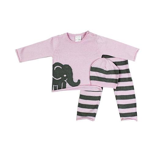 Pink Knit Elephant Sweater Set