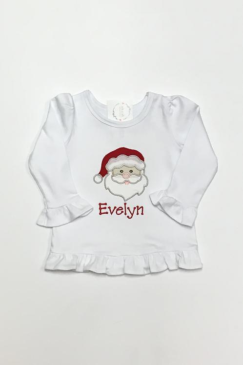 Girls Santa Applique Shirt