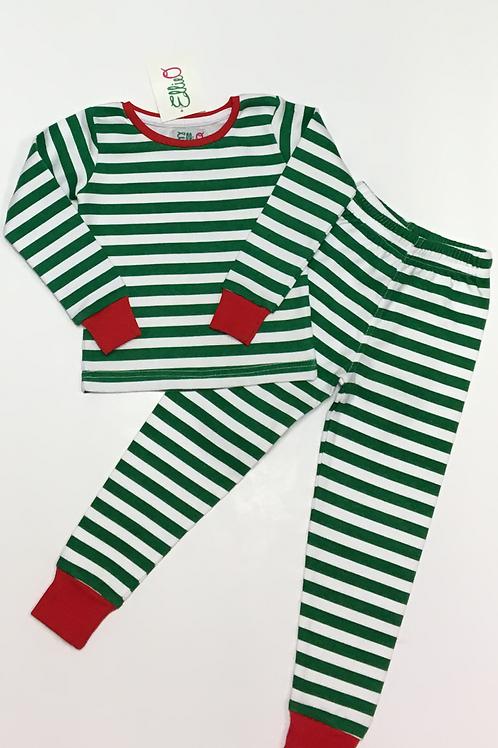 Green & White Striped Two-Piece Pajama