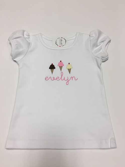 Girls Ice Cream Applique Shirt