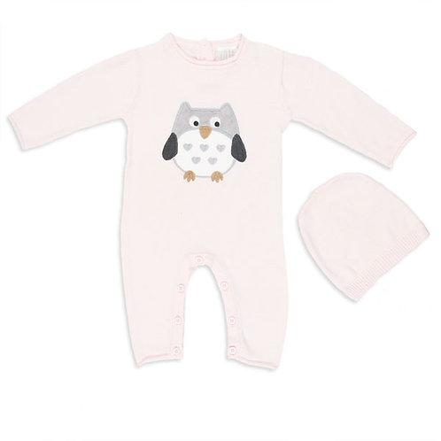 Pink Owl Knit Romper