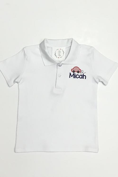 Boys Car Collared Shirt