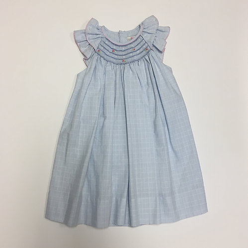 Petit Ami Blue & White Smocked Bishop Dress