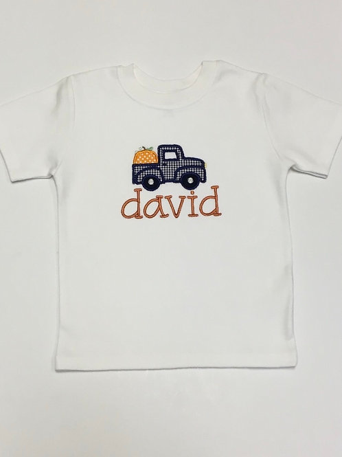 Pumpkin & Truck Applique Shirt