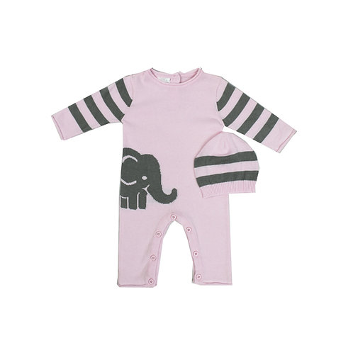 Pink Elephant Knit Romper