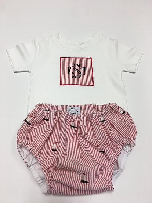 Red Seersucker Diaper Set