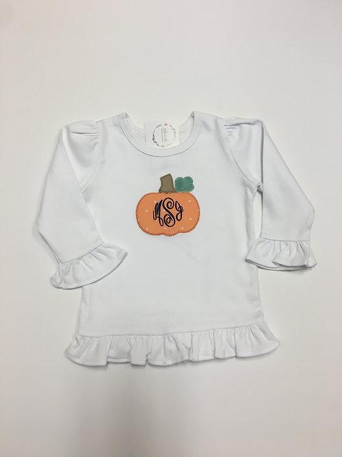 Pumpkin Applique on Girls Ruffle T-shirt