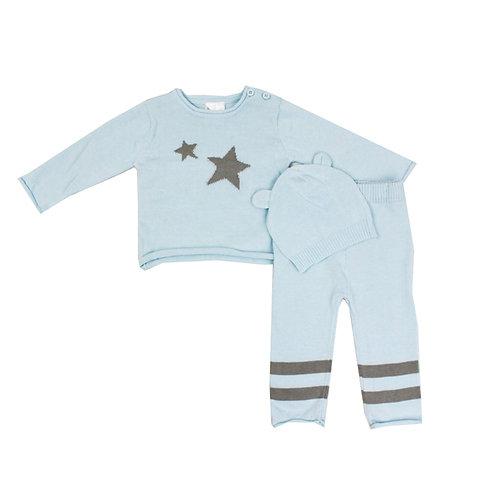 Blue Knit Star Sweater Set