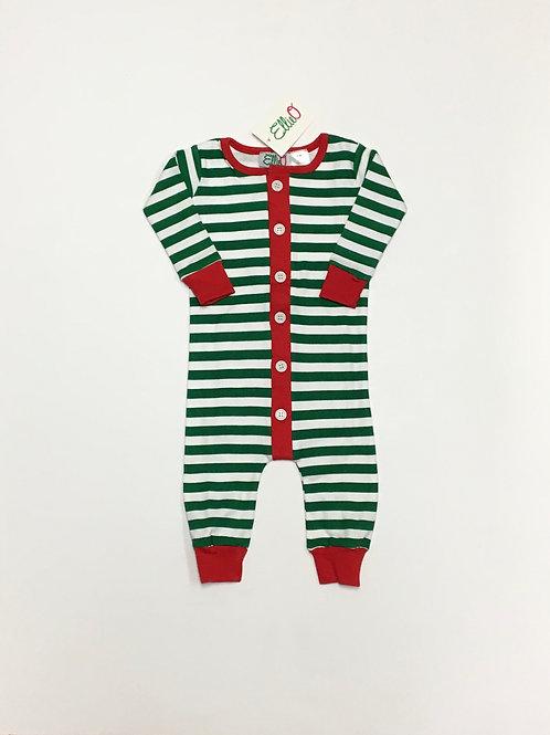 Green & White Striped Christmas Pajama