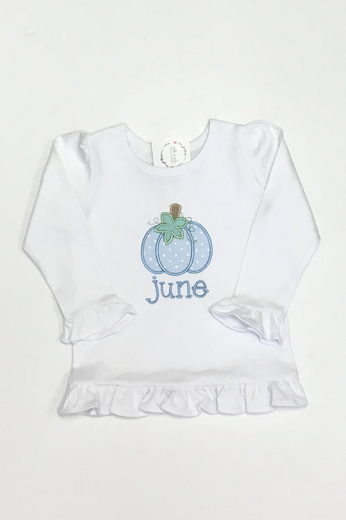 Girls Pastel Pumpkin Name Shirt