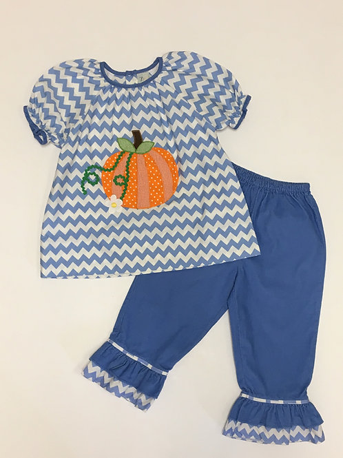 Blue Corduroy Pumpkin Set