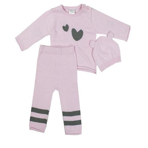 Pink Knit Heart Sweater Set