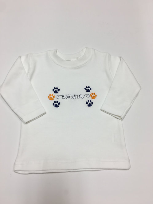 Little Paw Print Embroidery Shirt