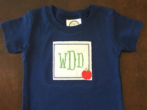 Apple Applique Navy Shirt