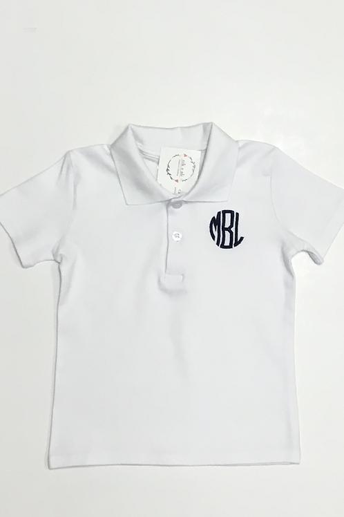Boys Circle Monogram Collared Shirt