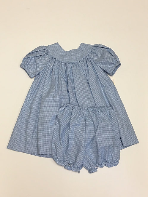 Blue Gingham Dress with Bloomers