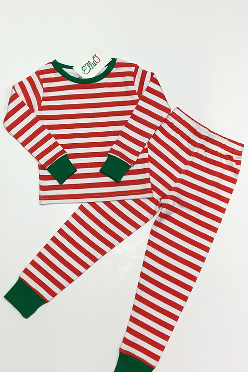 Red & White Striped Two-Piece Pajama
