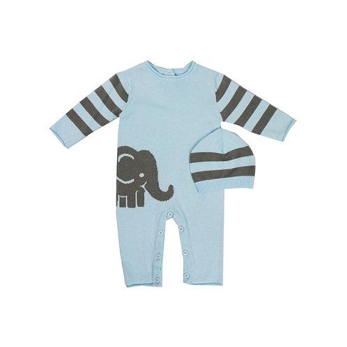 Blue Elephant Knit Romper