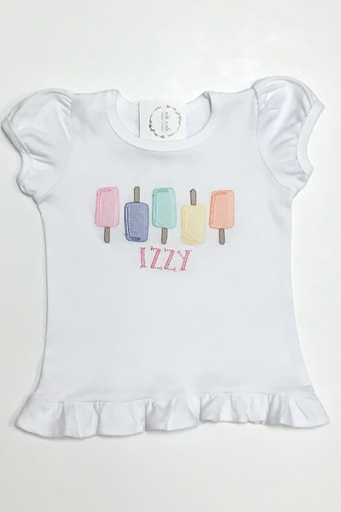 Girls Popsicle Embroidery Shirt
