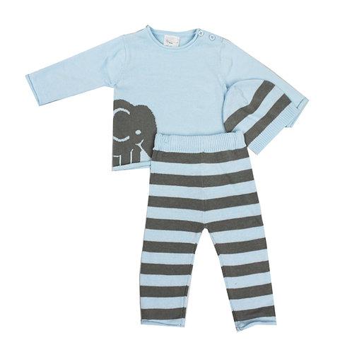 Blue Knit Elephant Sweater Set
